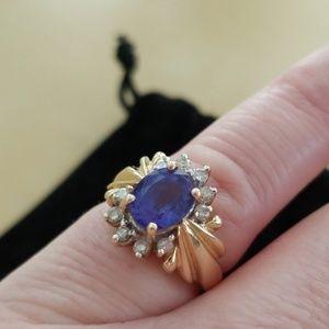 Levian tanzanite gold ring with diamonds